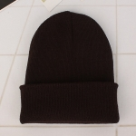 Simple Solid Color Warm Pullover Knit Cap for Men / Women(Dark coffee )