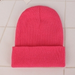 Simple Solid Color Warm Pullover Knit Cap for Men / Women(Peach red )