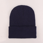 Simple Solid Color Warm Pullover Knit Cap for Men / Women(Navy )