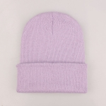 Simple Solid Color Warm Pullover Knit Cap for Men / Women(Light purple)