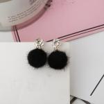 Short Paragraph Earrings Personalized Wild Simple Hair Ball Female Models Earrings(Black)