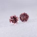 5 PCS Women Fashion Crystal Stud Imitation Zircon Earrings(Silver-Pink)