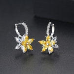 Cute Romantic Lovely Clear Stone Flower Shape Convenient Simple Stud Copper Cubic Zirconia Earrings(Yellow)