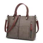 Vintage Shoulder Bag Female Causal Totes for Daily Shopping(gray)