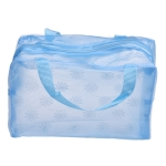 3 PCS Make Up Organizer Bag Toiletry Bathing Storage Bag Women Waterproof Transparent Floral PVC Travel Cosmetic Bag(Blue)