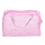 3 PCS Make Up Organizer Bag Toiletry Bathing Storage Bag Women Waterproof Transparent Floral PVC Travel Cosmetic Bag(Pink)