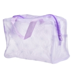 3 PCS Make Up Organizer Bag Toiletry Bathing Storage Bag Women Waterproof Transparent Floral PVC Travel Cosmetic Bag(Purple)