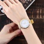 2 PCS Women Marbled Texture Mesh Belt Watch(Gold)