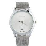 WoMaGe W0055 Fashion Alloy Belt Mesh Watch for Men / Women(Silver)