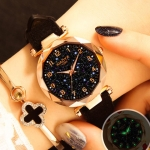 XIAOYA Fashion Women Star Sky Dial PU Leather Belt Quartz Wrist Watches(Black)
