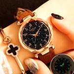 XIAOYA Fashion Women Star Sky Dial PU Leather Belt Quartz Wrist Watches(Brown)
