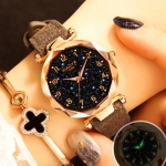 XIAOYA Fashion Women Star Sky Dial PU Leather Belt Quartz Wrist Watches(Grey)