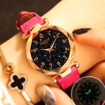 XIAOYA Fashion Women Star Sky Dial PU Leather Belt Quartz Wrist Watches(Pink)