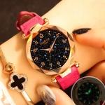 XIAOYA Fashion Women Star Sky Dial PU Leather Belt Quartz Wrist Watches(Pink)