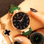 XIAOYA Fashion Women Star Sky Dial PU Leather Belt Quartz Wrist Watches(Green )