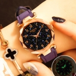 XIAOYA Fashion Women Star Sky Dial PU Leather Belt Quartz Wrist Watches(Purple)