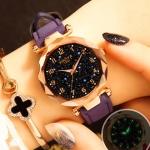 XIAOYA Fashion Women Star Sky Dial PU Leather Belt Quartz Wrist Watches(Purple)