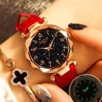 XIAOYA Fashion Women Star Sky Dial PU Leather Belt Quartz Wrist Watches(Red)