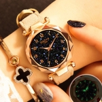 XIAOYA Fashion Women Star Sky Dial PU Leather Belt Quartz Wrist Watches(White)