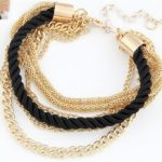 Fashion Multilayer Charm Bracelet Exaggerated Handwoven Rope Bracelet(Black)