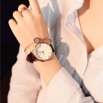 Ulzzang Simple Waterproof Large Dial Watch for Women(Brown white)