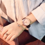 Ulzzang Simple Waterproof Large Dial Watch for Women(Brown Pink)