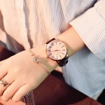 Ulzzang Simple Waterproof Large Dial Watch for Women(Black pink )