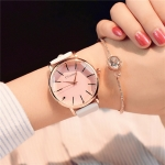Ulzzang Simple Waterproof Large Dial Watch for Women(White pink)