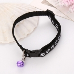 5 PCS Easy Wear Cat Dog Collar With Bell Adjustable Buckle Dog Collar Cat Puppy Pet Supplies(Black)