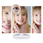 LED Touch Screen 22 Light Makeup Mirror Desktop Dressing Table 1X2X3X10X Magnifying Glass Desktop Folding Adjustable Mirror(22 Lights Fold White)