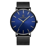 KEMANQI Simple Ultra-thin Waterproof Steel Mesh Belt Quartz Watch for Men(Ultra-thin Mesh belt blue dial)