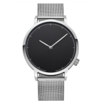Minimalist Scaled Stainless Steel Belt Quartz Watch(Silver band black dial )
