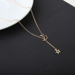 Fashion Moon Star Collarbone Chain Short Necklace(gold)
