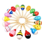 3 PCS Colorful Wooden Baby Child Musical Instrument Rattle Shaker Party Children Gift Toy(Color Random)