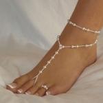 2PCS Women Double-deck Pearl Ankle Bracelet