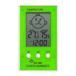Indoor Outdoor Thermometer Precise Hygrometer Digital Clock Temperature Logger(Green)