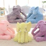 Plush Elephant Doll Toy Kids Sleeping Back Cushion Cute Stuffed Elephant Baby, Height:60cm 800g(Pink)
