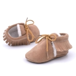 Baby Moccasins Shoes Fringe Soft Soled Non-slip Footwear Crib Shoes PU Suede Leather First Walker Shoes, Size:12cm(Khaki)
