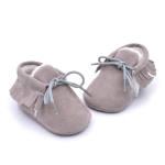 Baby Moccasins Shoes Fringe Soft Soled Non-slip Footwear Crib Shoes PU Suede Leather First Walker Shoes, Size:13cm(Grey)