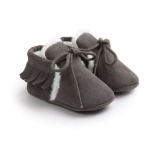 Baby Moccasins Shoes Fringe Soft Soled Non-slip Footwear Crib Shoes PU Suede Leather First Walker Shoes, Size:13cm(Dark Grey)