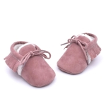 Baby Moccasins Shoes Fringe Soft Soled Non-slip Footwear Crib Shoes PU Suede Leather First Walker Shoes, Size:13cm(Light Purple)