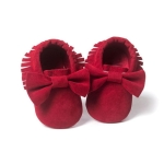 Baby Girls Shoes First Walkers Newborn Baby Moccasins Soft Sole Non-slip Footwear Shoes 11cm(Red)