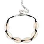 Cowrie Shell Adjustable Fashionable Chain Bracelet for Women(Black)