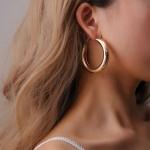 2 Pair Women Vintage Big Crircle Earrings(Gold)