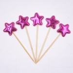 5 PCS/Unit Lovely Heart Star Crown Cake Topper Birthday Cupcake Flag Wedding Decoration(Rose Red Star)