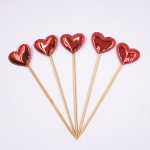 5 PCS/Unit Lovely Heart Star Crown Cake Topper Birthday Cupcake Flag Wedding Decoration(Red Heart)