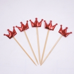 5 PCS/Unit Lovely Heart Star Crown Cake Topper Birthday Cupcake Flag Wedding Decoration(Red Crown)