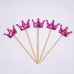 5 PCS/Unit Lovely Heart Star Crown Cake Topper Birthday Cupcake Flag Wedding Decoration(Rose Red Crown)