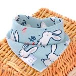 3 PCS Newborn Baby Bibs Cotton Soft Baby Smock Bibs(Grey Rabbit)