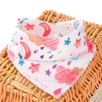 3 PCS Newborn Baby Bibs Cotton Soft Baby Smock Bibs(Star Moon)